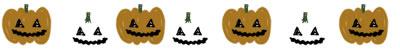 フリー素材:飾り罫・ライン;ガーリーなハロウィンのかぼちゃのおばけのwebデザイン素材