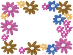 フリー素材:フレーム:ガーリーな花のイラストのwebデザイン素材。