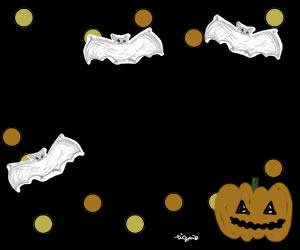 フリー素材:バナー:300×250pix;ガーリーなハロウィンにぴったりの水玉模様のwebデザイン素材