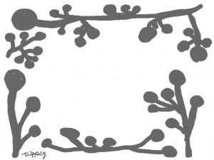 フリー素材:フレーム:640×480pix;北欧風植物のイラスト(モノトーンのブルーベリーの実と枝)のwebデザイン素材