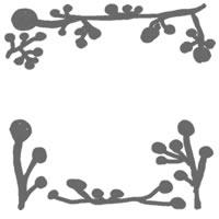 フリー素材:バナー・アイコン:200pixサイズ;北欧風植物(モノトーンのブルーベリーの実と枝)のwebデザイン素材