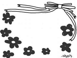 フリー素材:フレーム:640×480pix;モノクロのリボンと花のwebデザイン素材