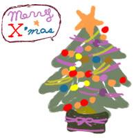フリー素材:アイコン;ポップでガーリーなクリスマスツリーとmeeryXmasの吹出しのイラスト素材