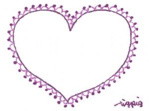 フリー素材:フレーム・飾り枠:640×480pix;大人かわいい紫のハート(ポンポンレースつき)の飾り枠
