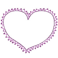 フリー素材:アイコン(twitter,mixi,ブログ);大人かわいい紫のハート(ポンポンレースつき)の飾り枠のwebイラスト素材