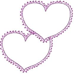 フリー素材:バナー・アイコン:250pix;大人かわいい紫のハート(ポンポンレースつき)