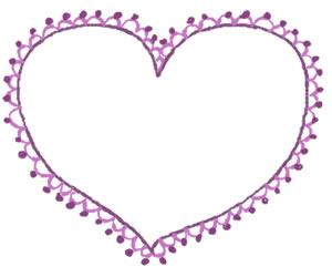 フリー素材:バナー広告:300×250pix;大人かわいい紫のハート(ポンポンレースつき)の飾り枠