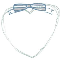 フリー素材:バナー・アイコン:250pix;大人かわいいパステルブルーのリボンとハートの飾り枠のwebデザイン素材