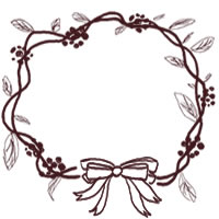 フリー素材:バナー・アイコン:200pix;大人かわいい茶色のリボンと葉っぱのクリスマスリースの飾り枠のwebデザイン素材