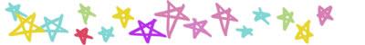 フリー素材:飾り罫・罫線:ポップで大人かわいい星いっぱいのイラストのwebデザイン素材