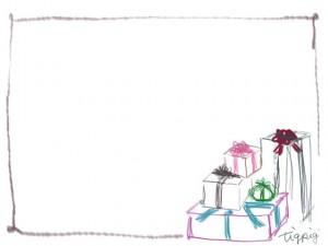 フリー素材:フレーム・飾り枠:640×480pix;大人かわいいクリスマスプレゼント(ギフトボックス)のwebデザイン素材