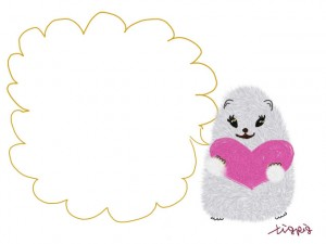 フリー素材:フレーム・飾り枠:640×480pix;白いハムスターと芥子色の吹出しとピンクのハートの大人かわいいwebデザイン素材
