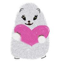 フリー素材:アイコン(twitter,mixi);白いハムスターとピンクのハートの大人かわいいwebデザインのアイコン素材