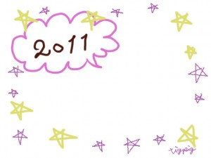 フリー素材:フレーム・飾り枠:640×480pix;大人かわいいポップな星と2011の手描き文字と吹き出しの飾り枠のwebデザイン素材