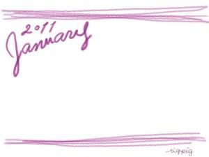 大人かわいい手描き文字2011Januauyとラフな飾り枠(ピンク)のガーリーなwebデザイン素材