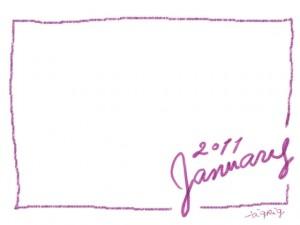 フリー素材:フレーム・飾り枠:640×480pix;大人かわいい手描き文字2011Januauyとクレヨン風のライン(ピンク)の飾り枠のwebデザイン素材