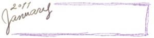 フリー素材:ヘッダー:800pix;大人かわいい手描き文字2011Januauyと紫のラフな飾り枠のガーリーなwebデザイン素材