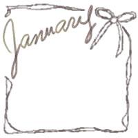 フリー素材:バナー広告・アイコン:200pix;大人かわいい2011Januauyの手描き文字と茶色のリボンの飾り枠のwebデザイン素材