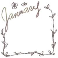 バナー広告・アイコンのフリー素材:200pix;大人かわいい茶色の2011Januauyの手描き文字と葉っぱの飾り枠のwebデザイン素材