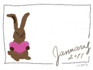 フリー素材:フレーム・飾り枠:640×480pix;大人かわいい手描き文字2011Januaryと兎のイラストとシンプルな茶色のラインの飾り枠のwebデザイン素材