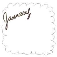 アイコン(twitter,mixi,ブログ)のフリー素材:大人かわいいJanuaryの手描き文字と茶色のもこもこの飾り枠のガーリーなwebデザイン素材