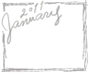 フリー素材:バナー広告:300×250pix;モノトーン;大人かわいい手描き文字2011Januaryとラフな飾り枠のガーリーなwebデザイン素材