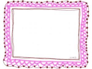フリー素材:フレーム・飾り枠:640×480pix;ピンクの大人かわいい手編みレース風飾り枠のバレンタイン、ホワイトデーのwebデザイン素材