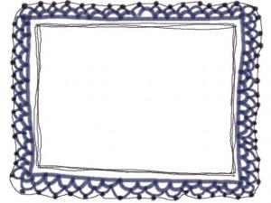 フリー素材:フレーム・飾り枠:640×480pix;ブルーの大人かわいい手編みレース風飾り枠。バレンタイン、ホワイトデーのwebデザイン素材