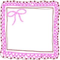 バナー広告・アイコン制作のフリー素材:200pix;ピンクのリボンと大人かわいい手編みレース風飾り枠。ガーリーなwebデザイン素材