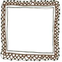 フリー素材:バナー・アイコン:200pix;大人カワイイ茶色の手編みレース風飾り枠のバレンタイン、ホワイトデーのwebデザイン素材