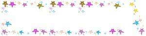 webデザインのフリー素材:ヘッダー背景;カラフルで大人かわいい星の飾り枠。バレンタイン、ホワイトデーのwebデザインに。