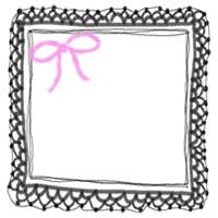 バナー広告・アイコン制作のフリー素材:200pix;ピンクのリボンと大人かわいいモノクロの手編みレース風飾り枠のwebデザイン素材