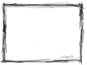 ネットショップ、webデザインのフリー素材:フレーム・飾り枠:大人かわいい鉛筆風ライン(黒)のモノクロのシンプルな飾り枠