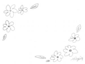 ネットショップ、webデザインの飾り枠のフリー素材:ブラウンブラックの大人かわいい小花のフレーム