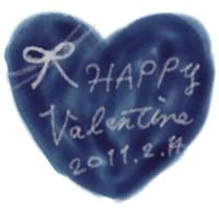 壁紙、背景のフリー素材:大人かわいい手書き文字Valentine2011214と青色のハートのイラスト。twitter,ブログ、ケータイのバレンタインの壁紙に。