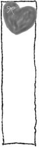 バナー広告制作のwebデザイン素材:大人可愛い灰色のハートと手描き風の飾り枠。モノトーンのイラストのフリー素材(160×600pix)