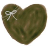 バナー広告、アイコンのwebデザイン素材:大人可愛いチョコレート色のハートとりぼんのイラストのフリー素材