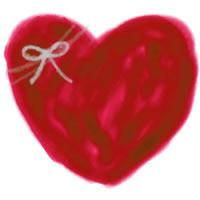 バナー広告・アイコン制作のwebデザイン素材:大人可愛い赤茶色のハートとりぼんのイラストのガーリーなフリー素材