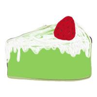アイコン(twitter,mixi,ブログ)のwebデザイン素材:大人可愛い抹茶色のスポンジの苺(いちご)ショートケーキのイラスト