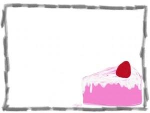 ネットショップ、バナー広告、webデザインのフリー素材:鉛筆風のラフなフレームと大人可愛いピンクのイチゴショートケーキ
