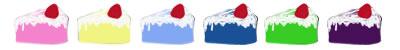 ネットショップ、webデザインのフリー素材:カラフルな苺(いちご)ショートケーキのイラストの飾り罫。アルバムの飾り罫にも。