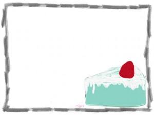 ネットショップ、バナー広告、webデザインのフリー素材:マカロンみたいなパステルブルーの大人可愛いイチゴショートケーキのイラスト