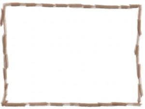 ネットショップ、webデザインの飾り枠のフリー素材:茶色の色鉛筆風ラインの囲み枠(フレーム)