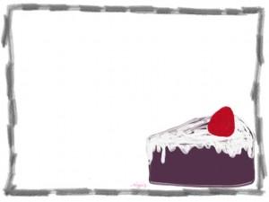 ネットショップ、バナー広告、webデザインのフリー素材:大人可愛いくすんだ紫色の苺ショートケーキと鉛筆風飾り枠(フレーム)