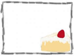 ネットショップ、webデザインのフリー素材:フレーム・飾り枠:640×480pix;大人可愛いイチゴショートケーキのイラスト