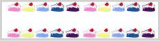バナー広告、ネットショップのwebデザイン素材:カラフルなイチゴショートケーキの飾り枠の飾り枠イラストのハーフバナー広告画像234×60pix