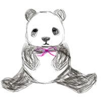 バナー広告、アイコンのwebデザイン素材:手描き鉛筆風の大人可愛いモノクロのパンダ