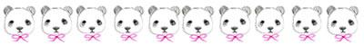 ネットショップ、webデザインの飾り罫のwebデザイン素材:大人可愛いピンクのリボンとモノクロのパンダいっぱいの飾り罫