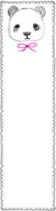 ネットショップ、バナー広告のwebデザイン素材:手描き鉛筆風の大人可愛いモノクロのパンダとガーリーなレースのフレーム(飾り枠)(160×600pix)