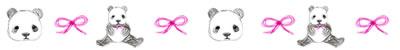 ネットショップ、webデザインの飾り罫:大人可愛いパンダとピンクのリボン